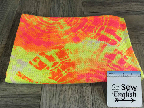 Neon Tie Dye -Waffle Knit- By the yard