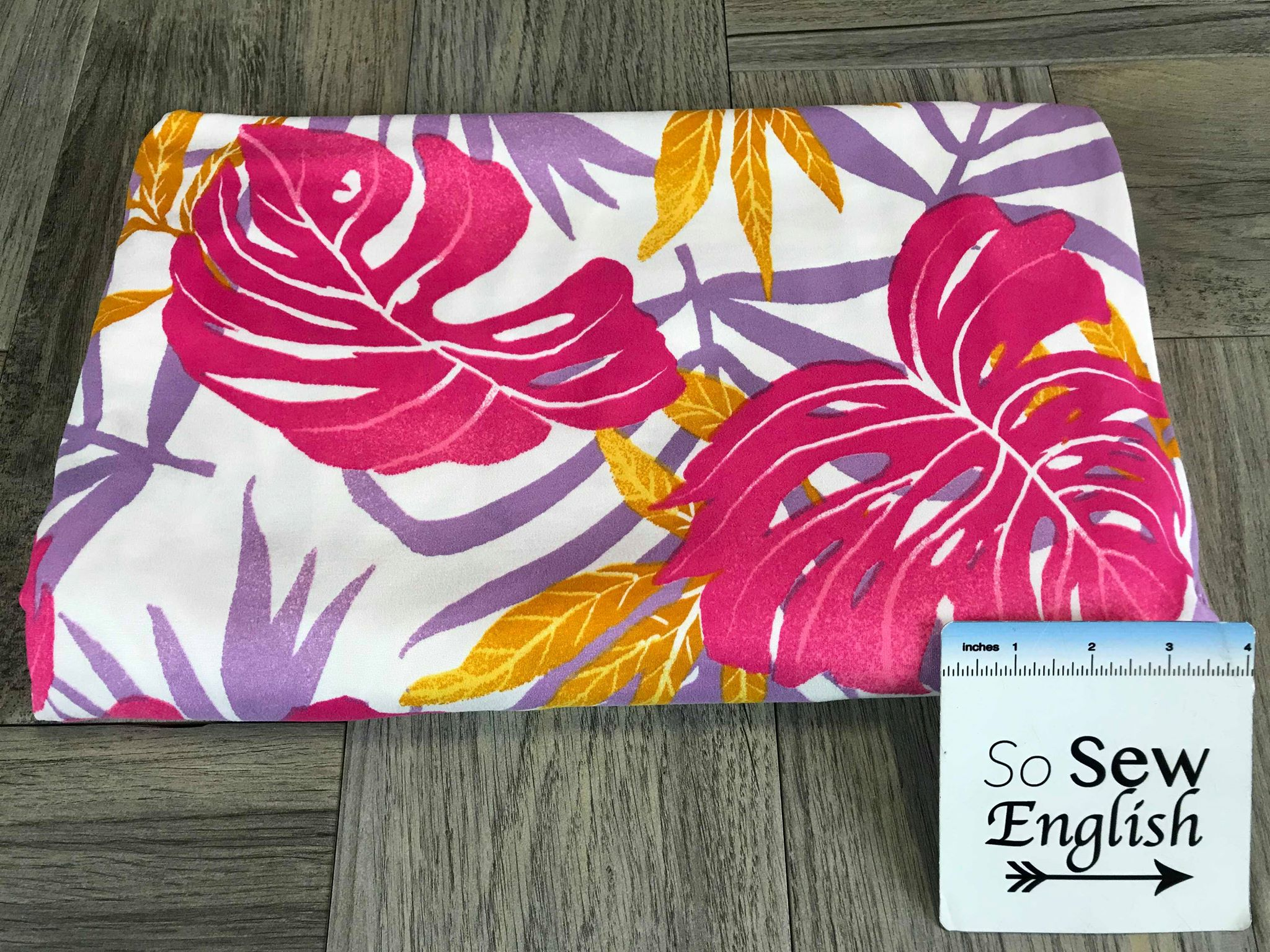 Fuchsia Palm Leaves - Double Brushed Poly Spandex -By The Yard