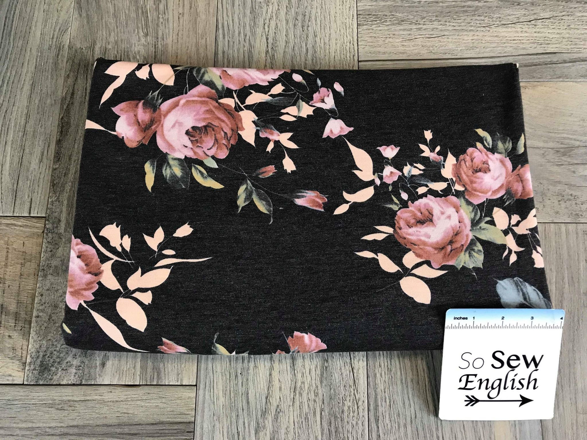Charcoal BLUSH LILLY -French Terry- By the yard