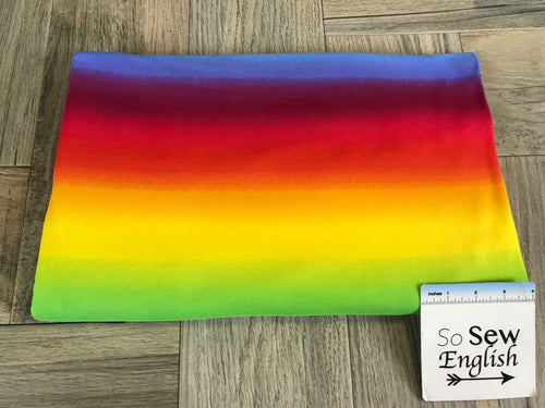 Bold RAINBOW OMBRE- Double Brushed Poly Spandex -By The Yard