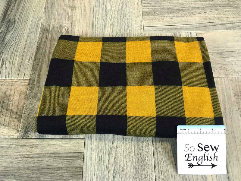 Mustard/Deep Navy PLAID -Melange Hacci- By The Yard