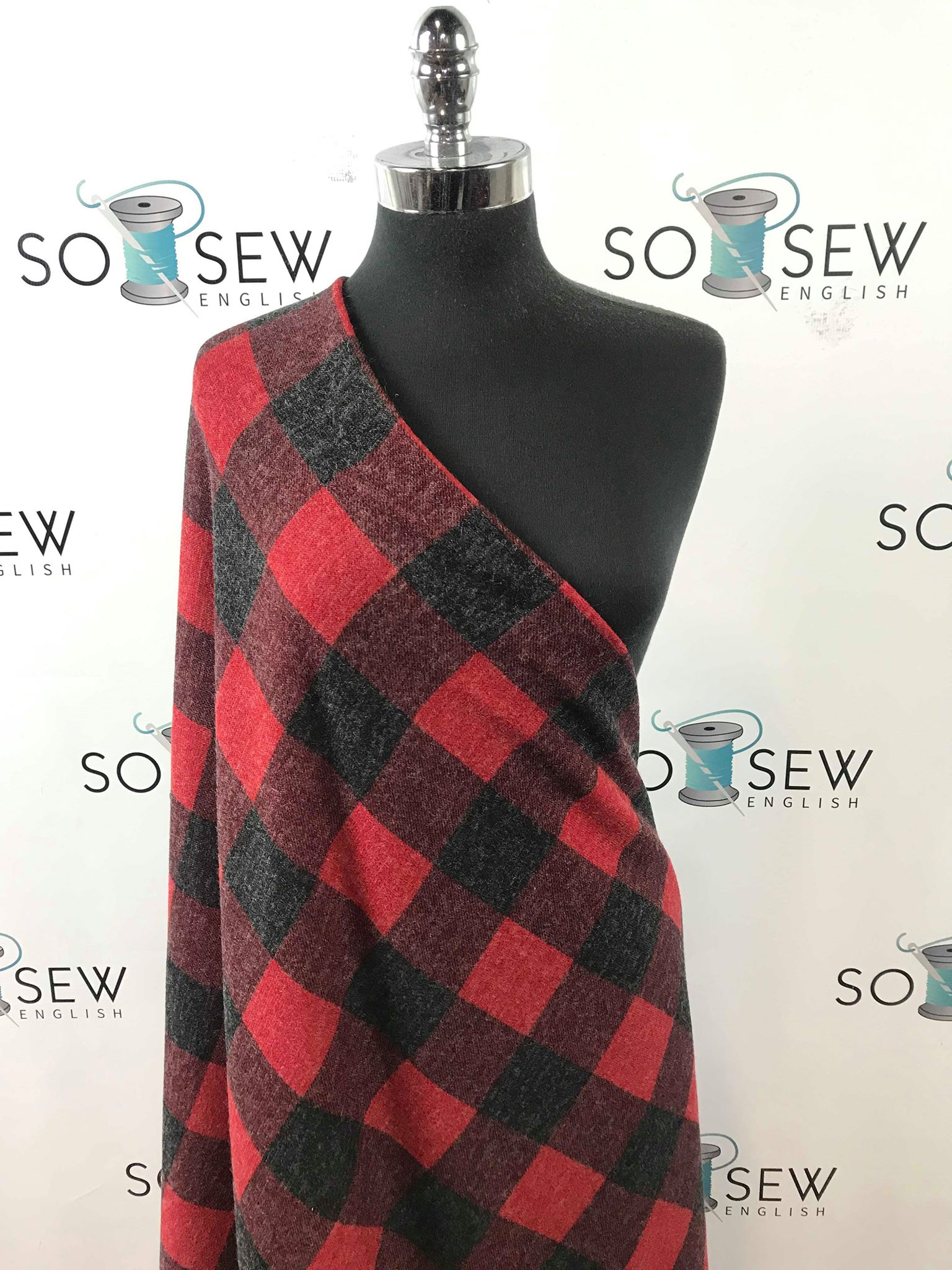 Red/Black PLAID -Melange Hacci- By The Yard