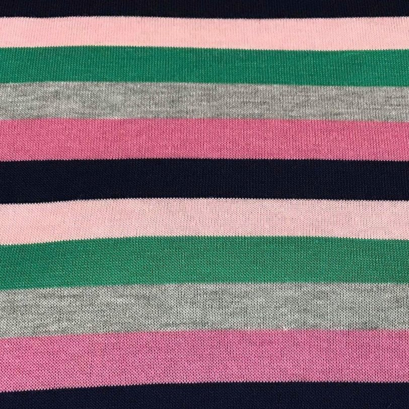 Pink/Grey Multi Stripe - Sweater Knit- By The Yard
