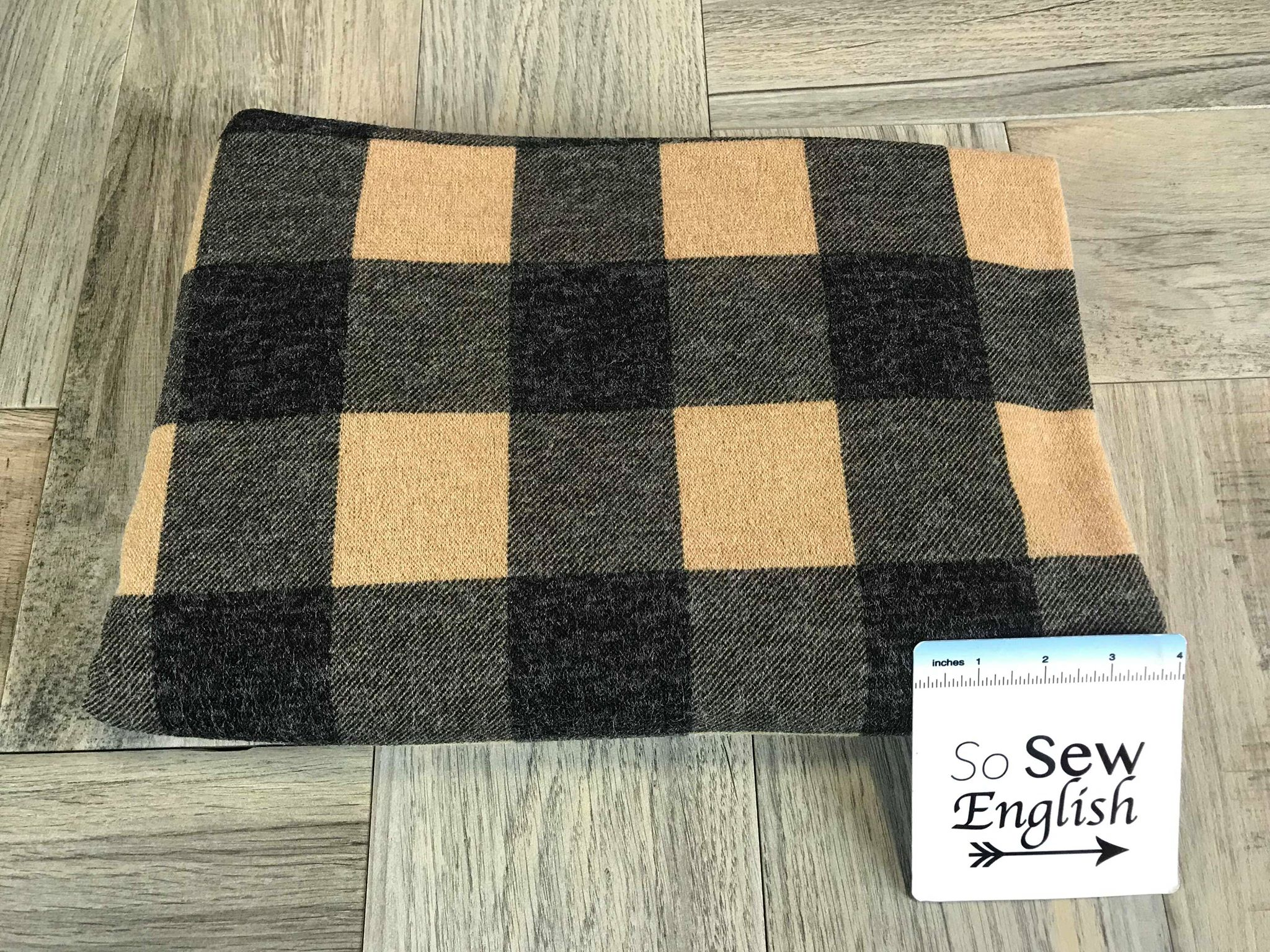 Taupe/Black PLAID -Melange Hacci- By The Yard