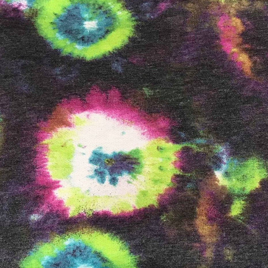 Purple/Lime RING TIE DYE -French Terry- By the yard