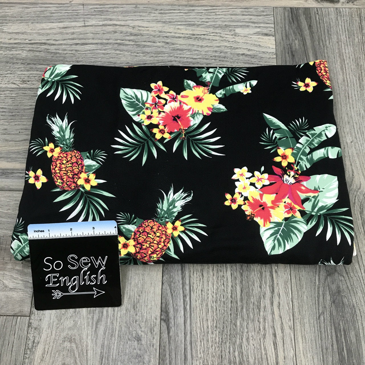 Black PINEAPPLE TROPIC- Single Brushed Poly Spandex -By The Yard