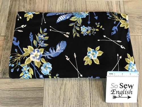 Black/Blue FLORAL FEATHERED ARROWS- Double Brushed Poly Spandex -By The Yard
