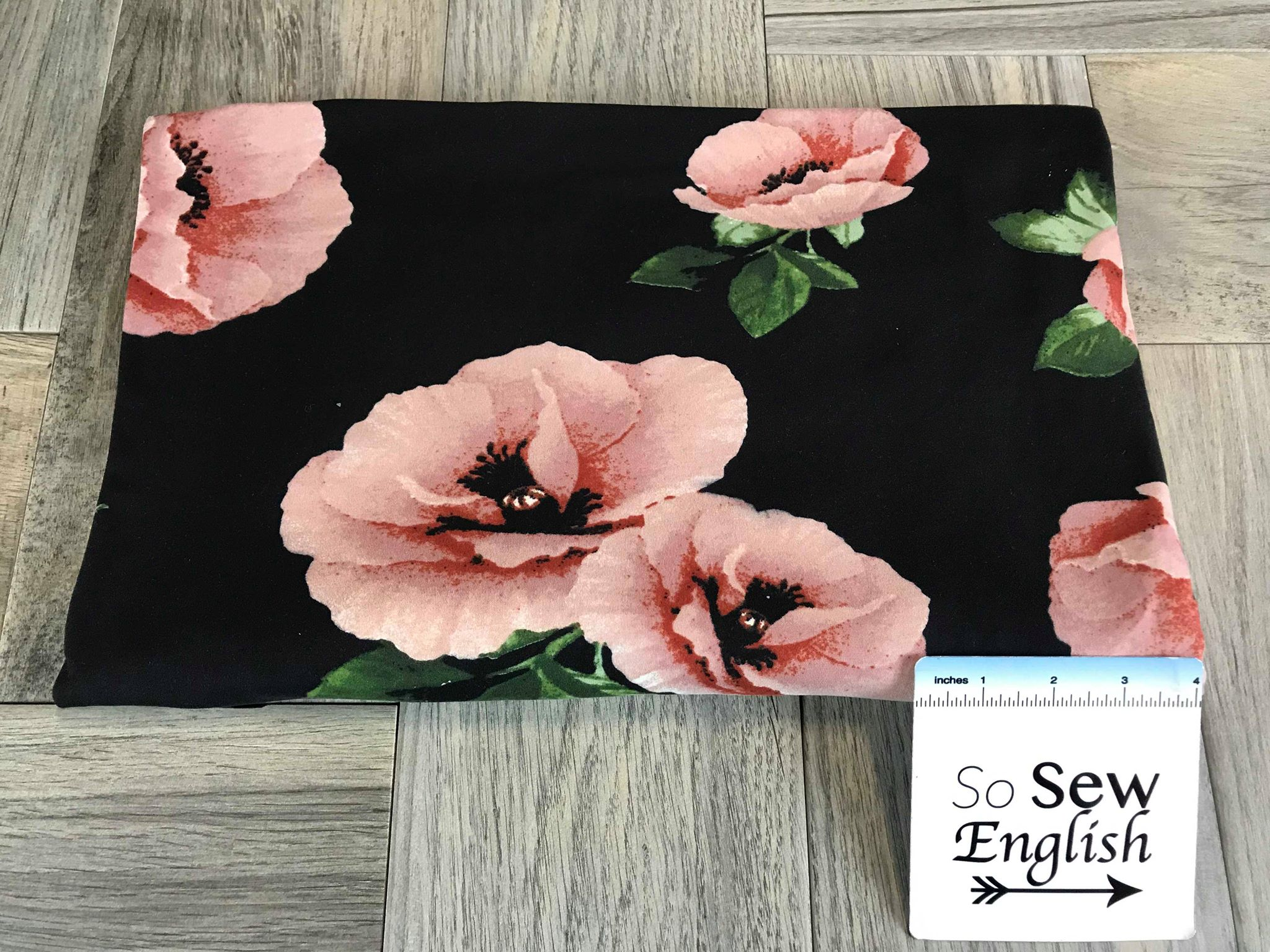 Black/Blush POPPY- Double Brushed Poly Spandex -By The Yard