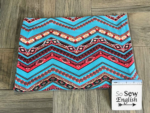 Aqua/Peach CHEVRON- Double Brushed Poly Spandex -By The Yard