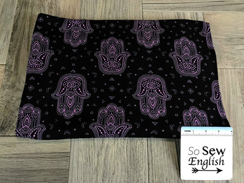 Black/Orchid HAMSA - Double Brushed Poly Spandex -By The Yard
