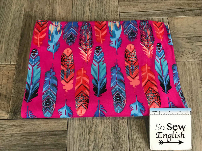 Fuchsia TRENDY FEATHERS- Double Brushed Poly Spandex -By The Yard