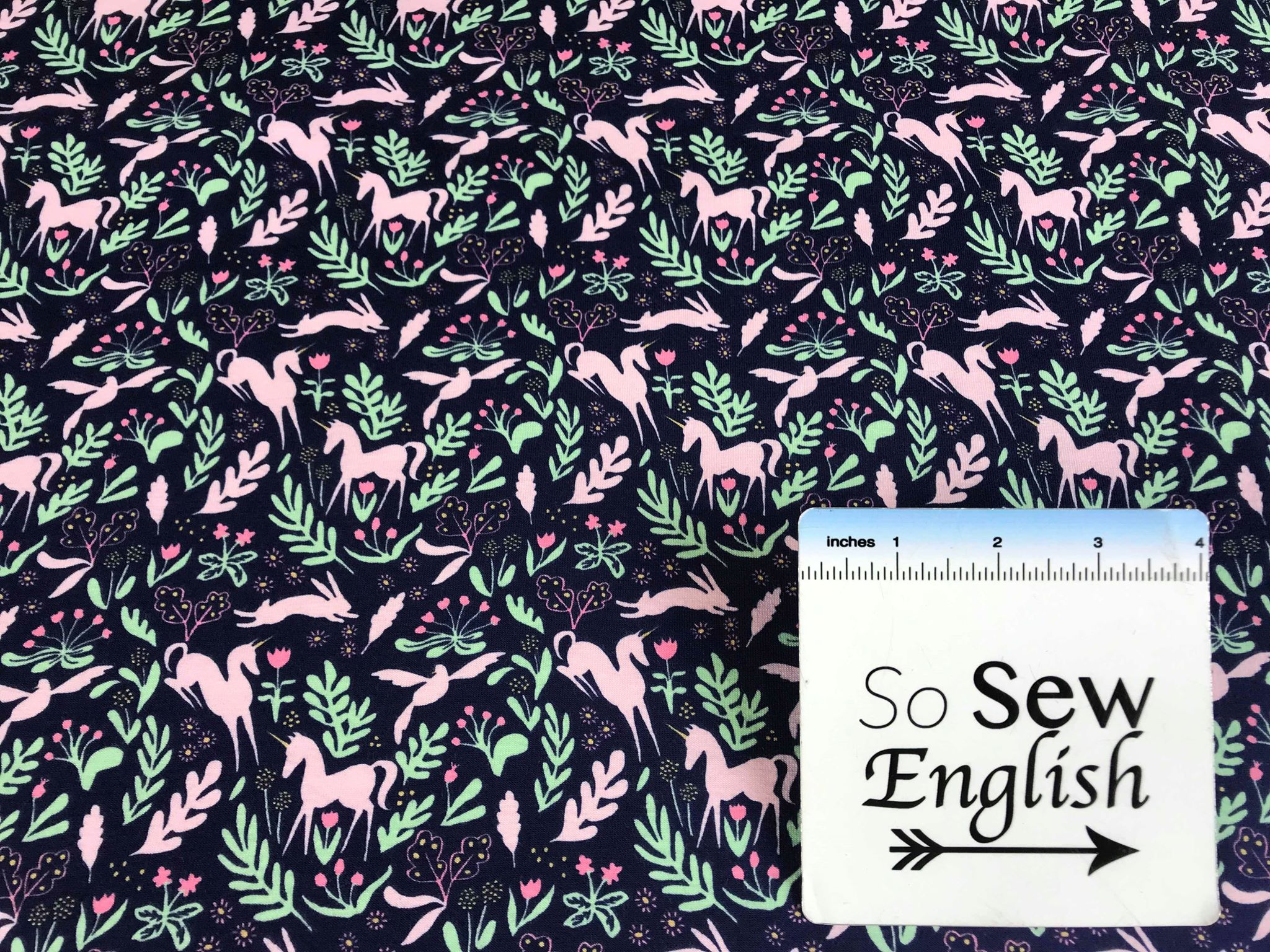 Navy MAGIC FOLK -Michael Miller Cotton Spandex -By The Yard