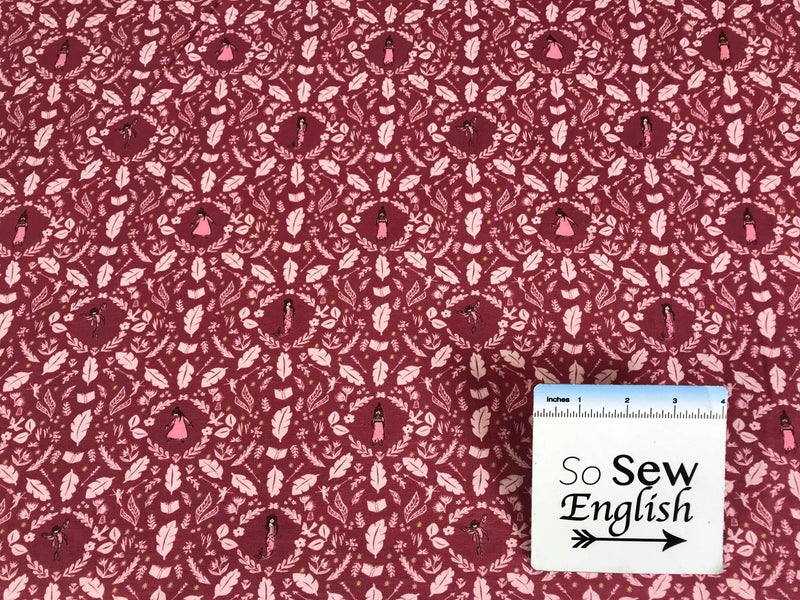 Rose GIRLS ARE MUCH TOO CLEVER -Michael Miller Cotton Spandex -By The Yard