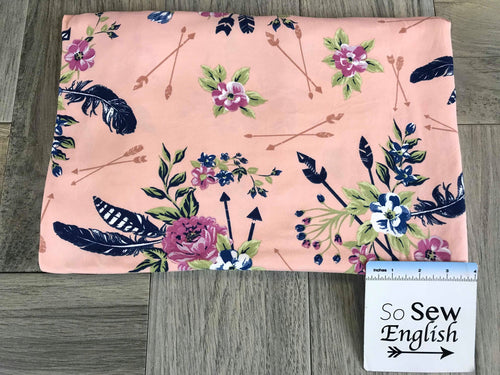Blush/Navy FLORAL FEATHERED ARROWS- Double Brushed Poly Spandex -By The Yard