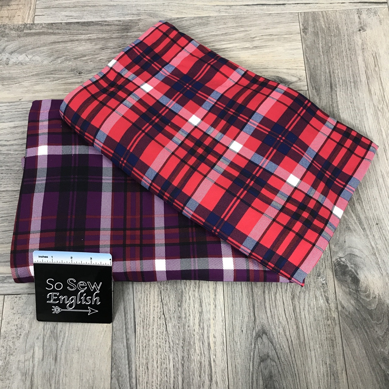 Red/Royal PLAID- Double Brushed Poly Spandex -By The Yard