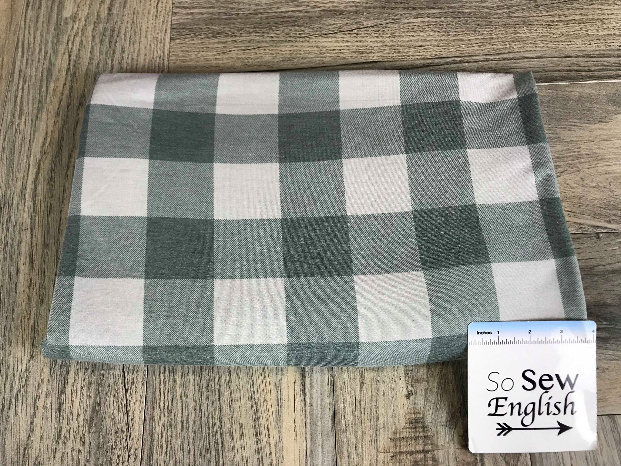 Hunter/Silver BUFFALO PLAID -French Terry- By the yard