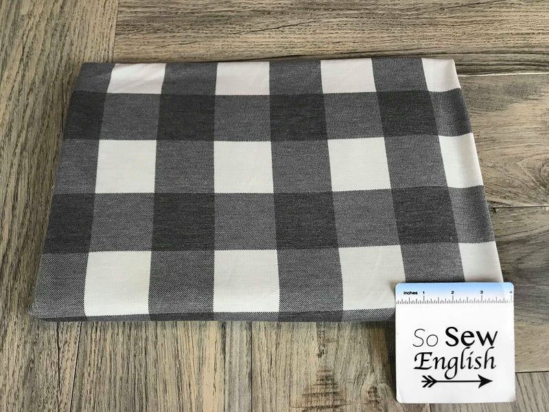 Grey/Soft Black BUFFALO PLAID -French Terry- By the yard