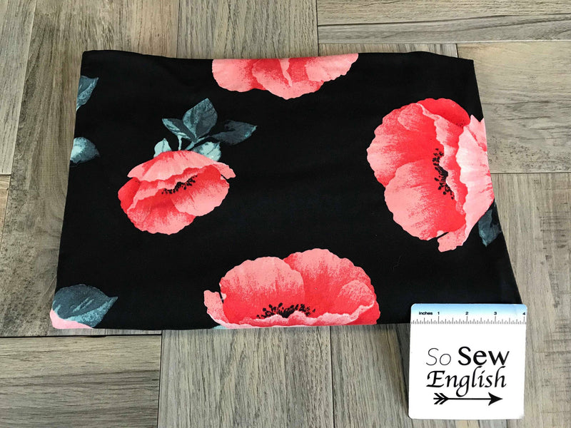 Black/Red POPPY- Double Brushed Poly Spandex -By The Yard