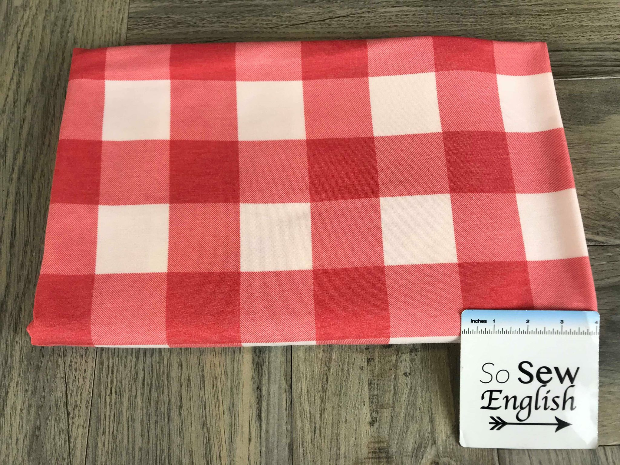 Red/White BUFFALO PLAID -French Terry- By the yard