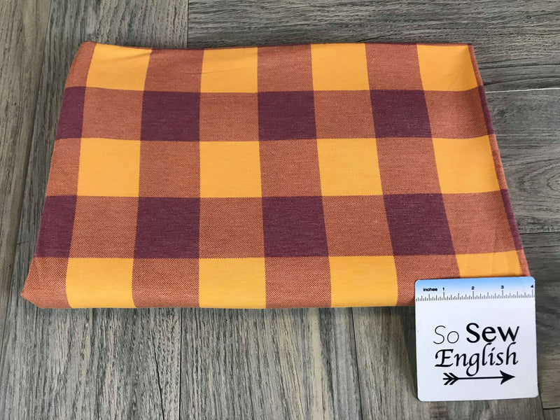 Burgundy/Gold BUFFALO PLAID -French Terry- By the yard