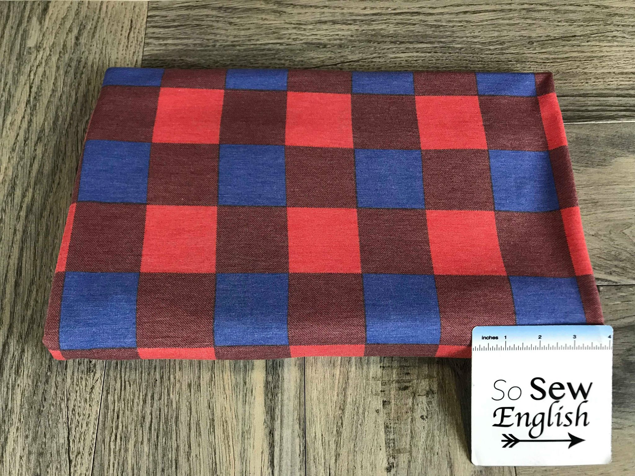 Red/Blue BUFFALO PLAID -French Terry- By the yard