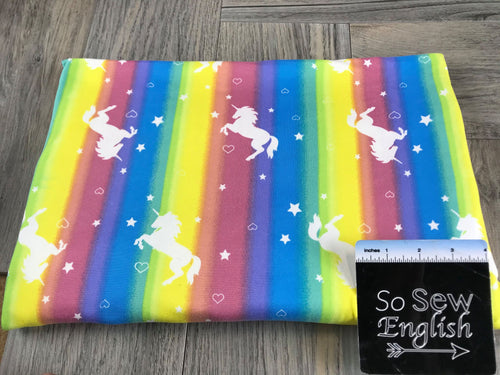 Rainbow Vertical Stripe UNICORNS- Double Brushed Poly Spandex -By The Yard