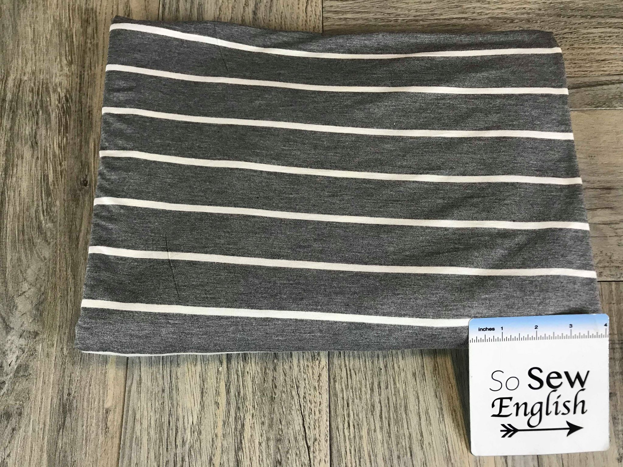 Charcoal Wide Stripe - Rayon Spandex -By the yard