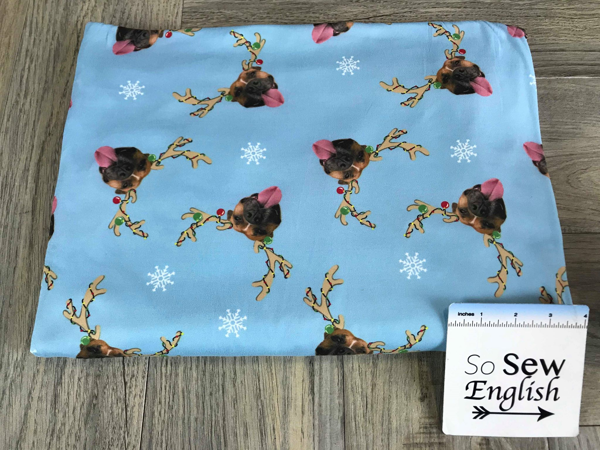 Blue DOG GONE HOLIDAYS- Domestic Double Brushed Poly Spandex -By The Yard (dog, reindeer, holiday)