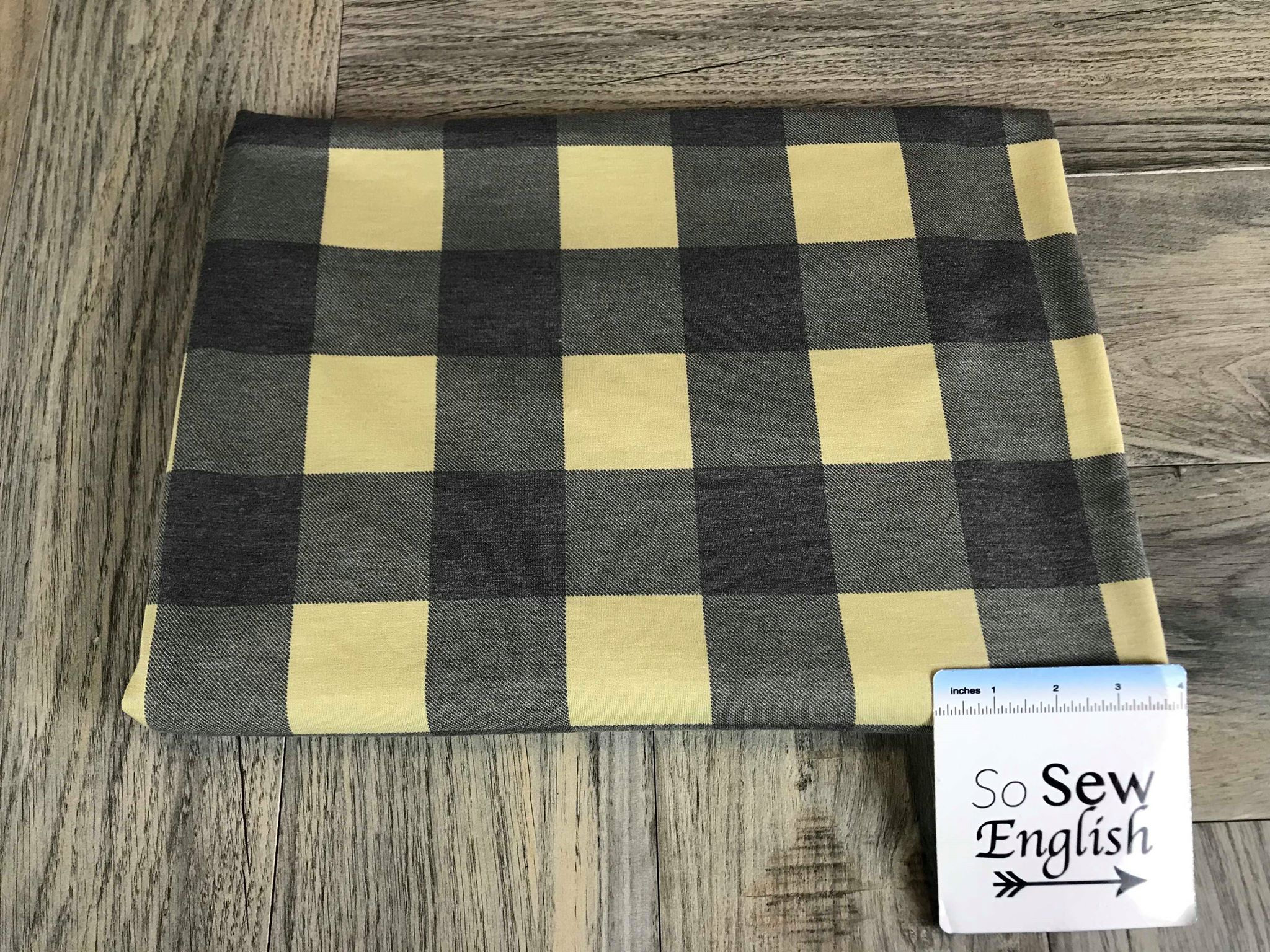 Soft Black/Taupe BUFFALO PLAID -French Terry- By the yard