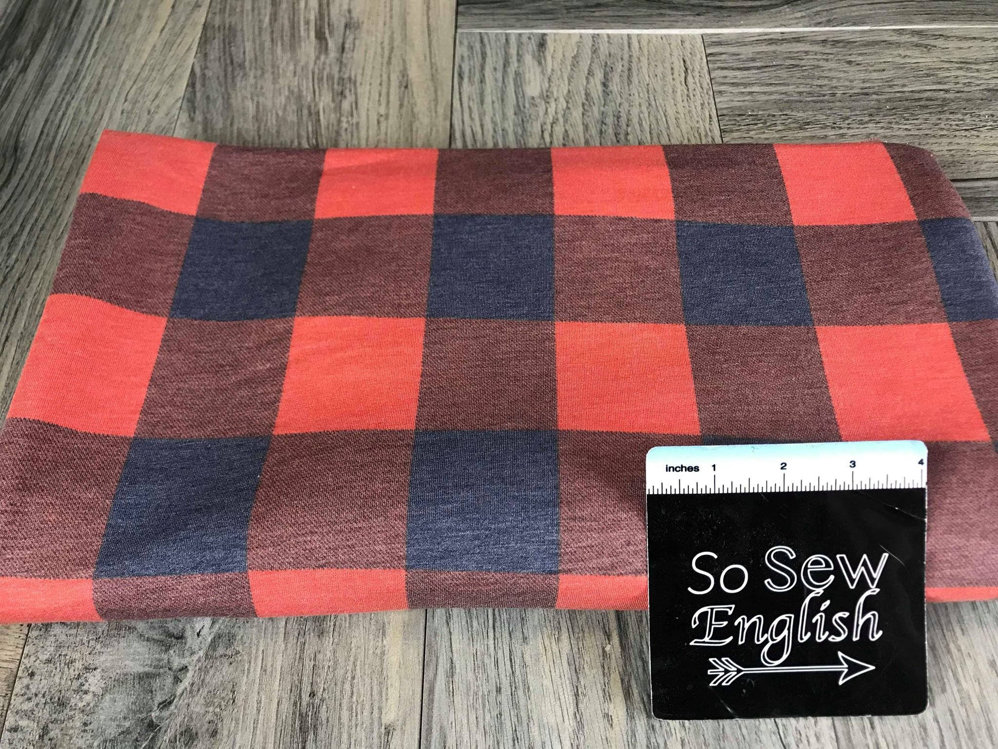 Orange/Navy BUFFALO PLAID -French Terry- By the yard