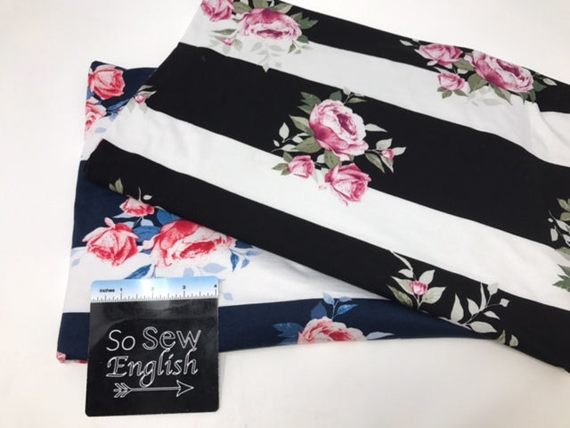 Navy FLORAL STRIPE - Modal Spandex - By the yard