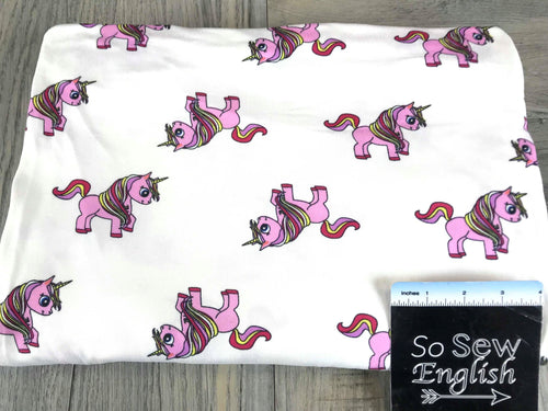 White DASHING UNICORNS- Double Brushed Poly Spandex -By The Yard