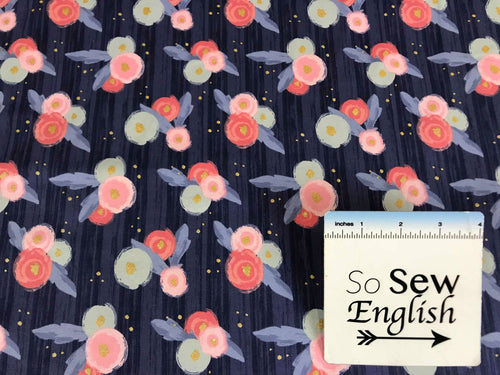 Midnight Rose Main Sparkle Navy -Riley Black Cotton Spandex -By The Yard