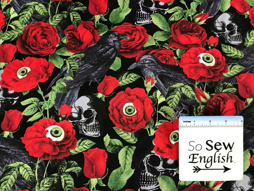 Raven Skulls & Roses -Timeless Treasures Cotton Spandex -By The Yard