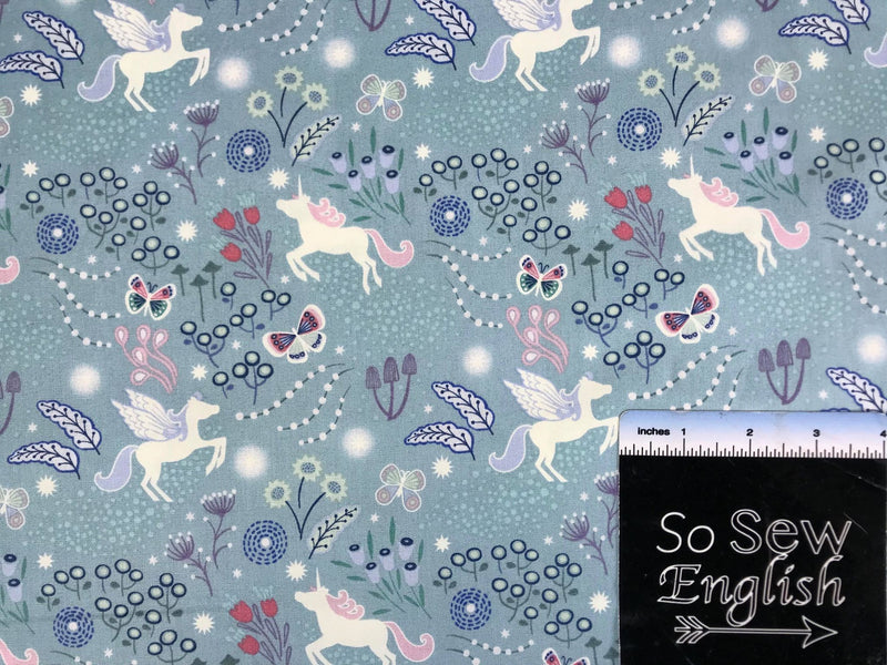 Soft Teal Unicorn Meadow-Lewis & Irene Cotton Woven- By the yard