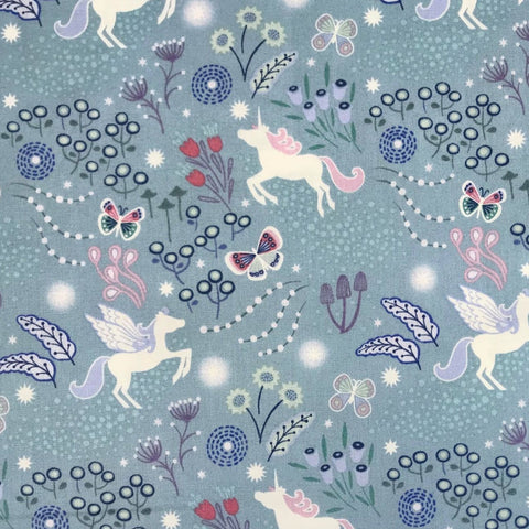 Soft Black Unicorn Meadow-Lewis & Irene Cotton Woven- By the yard
