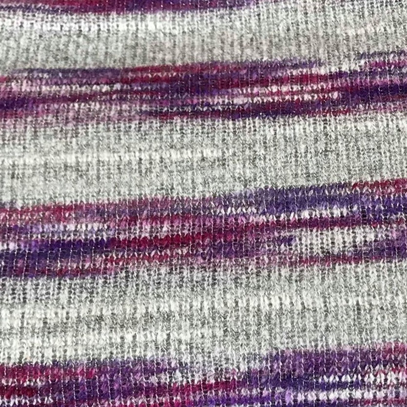 Grey/Purple Sparkle Stripe -Ribbed Hacci Sweater Knit - By The Yard