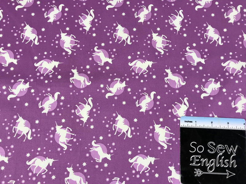 Purple Unicorn Spots-Lewis & Irene Cotton Woven- By the yard