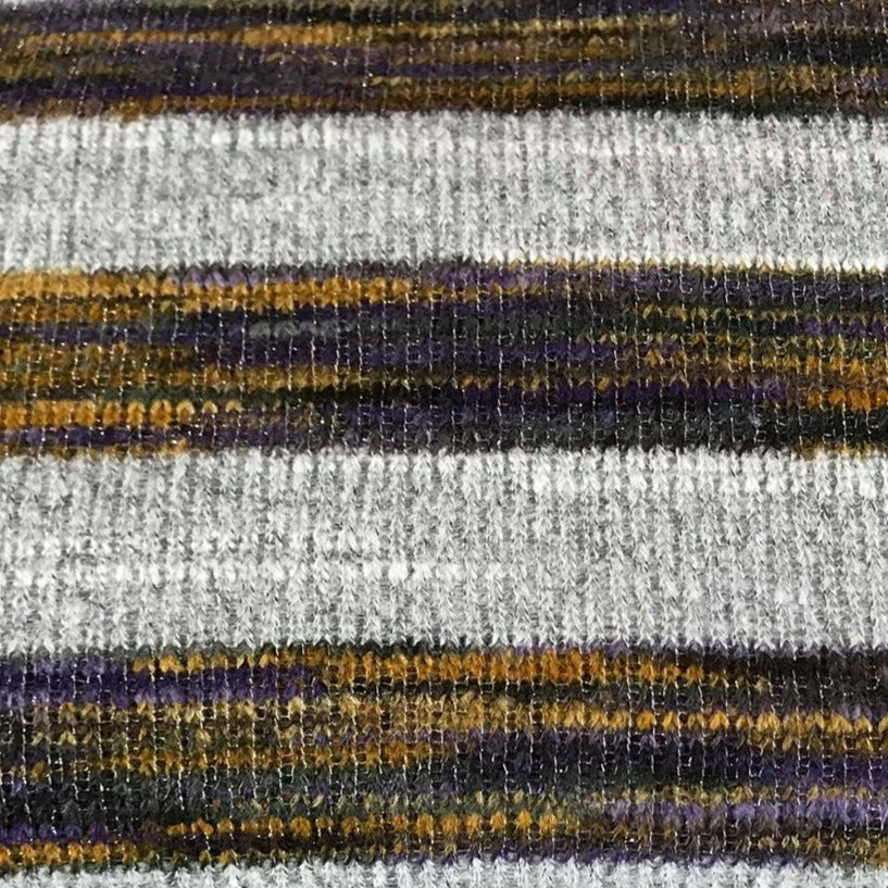 Grey/Mustard Sparkle Stripe -Ribbed Hacci Sweater Knit - By The Yard
