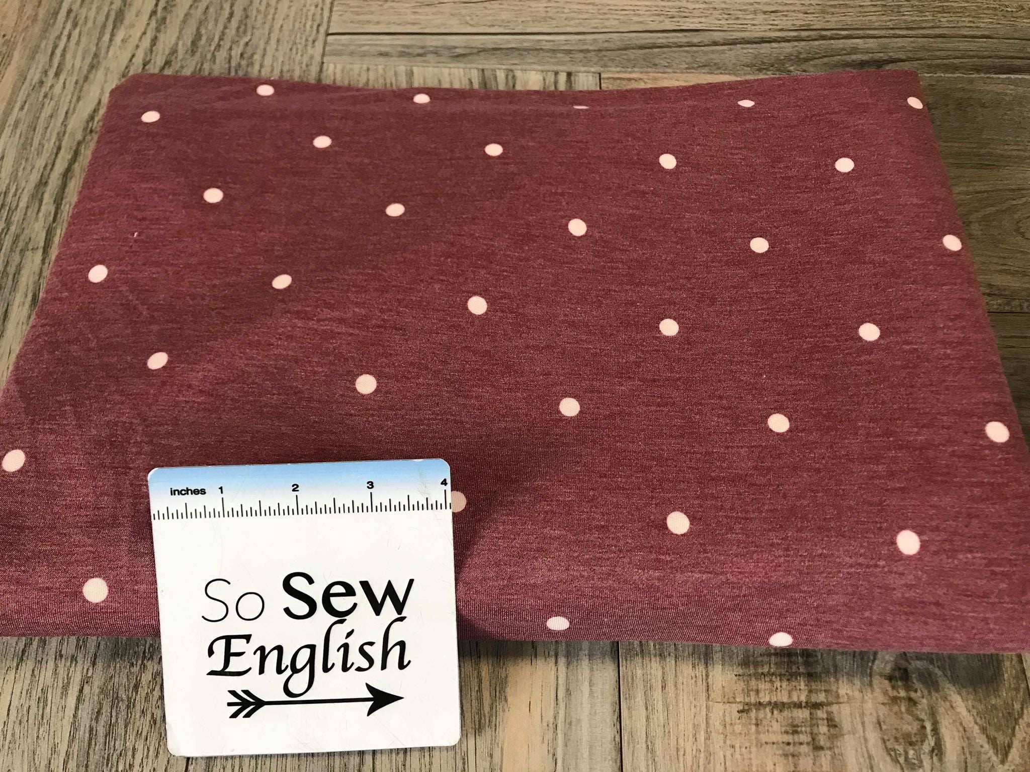 Burgundy/Ivory DOT -French Terry- By the yard