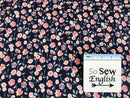 Small Midnight Rose Main Sparkle Navy -Riley Blake Cotton Spandex -By The Yard