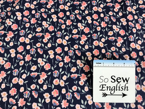 Small Midnight Rose Main Sparkle Navy -Riley Black Cotton Spandex -By The Yard