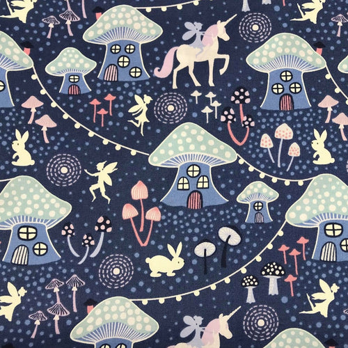 Blue Mushroom Village-Lewis & Irene Cotton Woven- By the yard