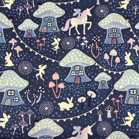 Purple Mushroom Village-Lewis & Irene Cotton Woven- By the yard