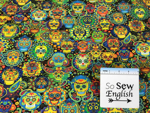 Bright Sugar Skulls -Timeless Treasures Cotton Spandex -By The Yard