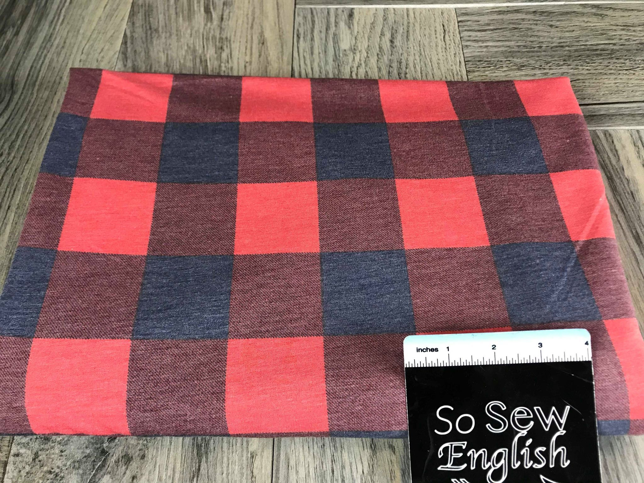 Red/Navy BUFFALO PLAID -French Terry- By the yard