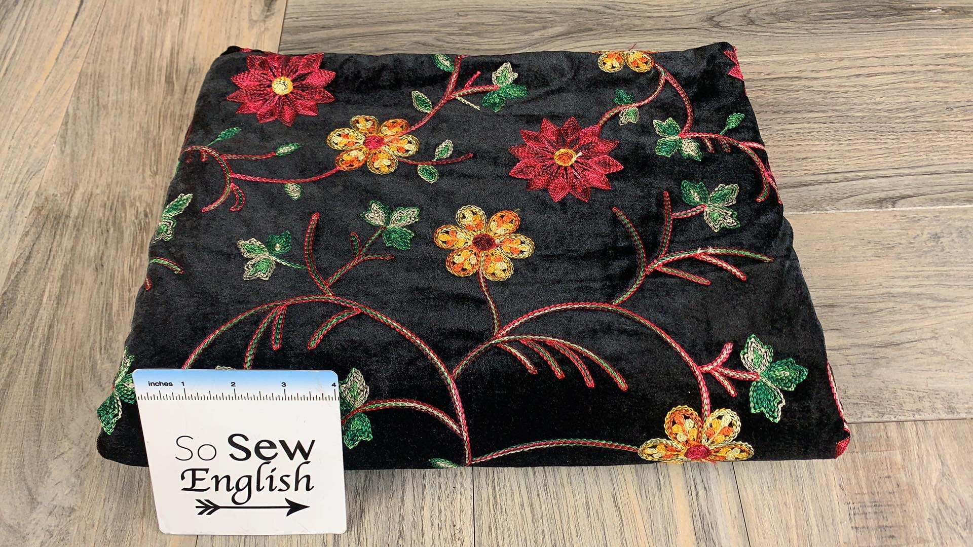 Floral Embroidered - Stretch Velvet - By the yard