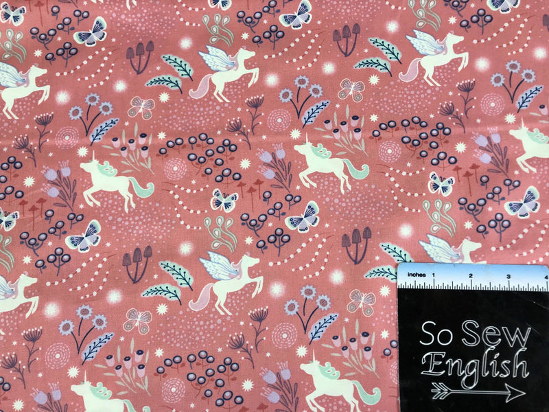 Pink Unicorn Meadow-Lewis & Irene Cotton Woven- By the yard