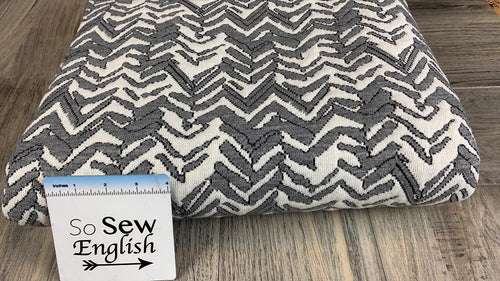 Grey/Ivory Chevron -Quilted Double Knit- By the yard