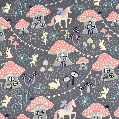 Grey Mushroom Village-Lewis & Irene Cotton Woven- By the yard